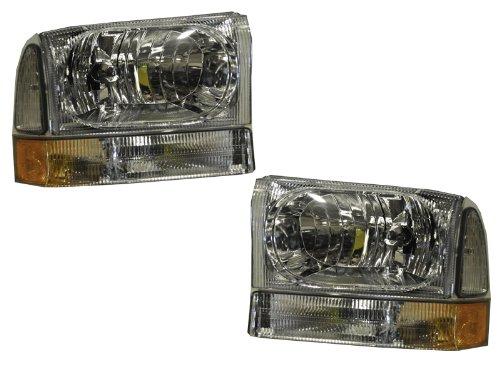 Ford SuperDuty Trucks Euro Chrome 4-Piece Headlights Set w/Corner (1 Piece Euro Headlights)