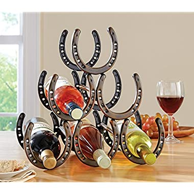 Western Horseshoe Wine Bottle Holder Table Top Rack Decor