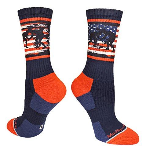 MadSportsStuff USA Flag Fighting Wrestlers Crew Socks (Navy/Red/White, Medium)