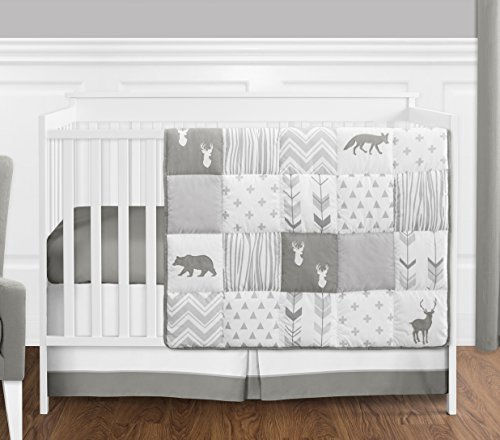 Grey and White Woodsy Deer Boy, Girl, Unisex Baby Crib Bedding Set without Bumper by Sweet Jojo Designs - 4 pieces from Sweet Jojo Designs