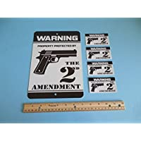Warning Property Protected By The 2nd Amendment Gun Metal Security Sign & 4 Window Stickers # 723