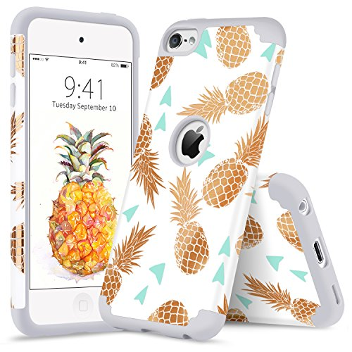 (iPod Touch 6 Pineapple Case iPod 5 Case YINLAI Shockproof 2 in 1 Hybrid Slim Soft Silicone Rubber Bumper Hard PC Cover with Cute Pineapple Pattern Protective Cases for iPod Touch 5/6th Gen White/Gold)