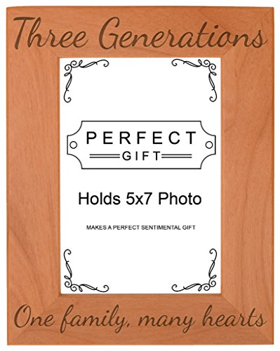 Gifts For All By Rachel Olevia Three Generations One Family Many Hearts Natural Wood Engraved 5x7 Portrait Picture Frame Wood (Many Hearts One Family Jewelry)