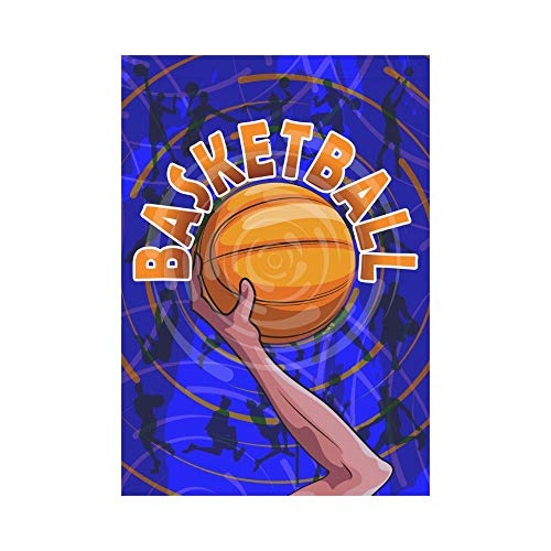 Pingshoes Cool Basketball Ball Polyester Garden Flag Outdoor Banner 12 x 18 inch, Active Sport Player Decorative Large House Flags for Party Yard Home Decor