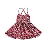 Woaills Floral Straps Backless Dress Clothes for 1-3 Years Old Toddler Baby Girls (3T, Multicolor)