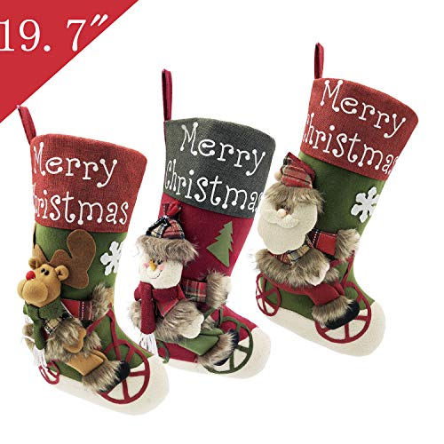- Felt Christmas Stockings for Family Sets of 3, 19.7 inch Large Plush Character 3D Reindeer Santa Claus Snowman Snowflake Design Hanging Bags, Socks - Holiday Kids Gift for Indoor Home