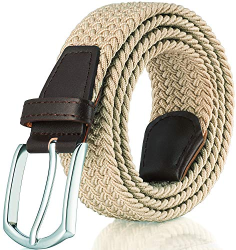 - RANCHEZZ Elastic Belts for Men Braided Woven Stretch Belt Canvas Web Mens Belt - Beige - S