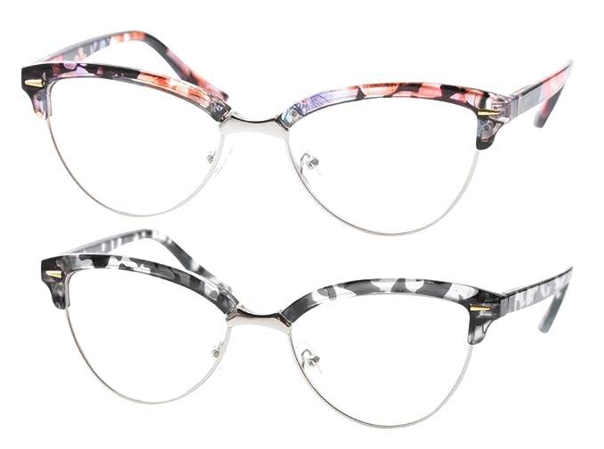bc533063fb SOOLALA Womens Mens Fashion Designer Semi-rimless Cat Eye Reading Glasses