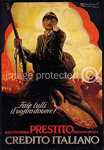 AGS - Fale Tutti il vostro dovere! (Do Your Duty!) Vintage Italian World War One WW1 WWI Military Propaganda Poster - 24x36