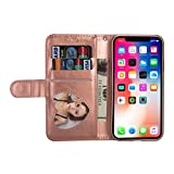 Businda Wallet Case for iPhone XR, Folio Flip Case with Kickstand Card Holder, Folding Stand Protective Cover for iPhone XR 6.1 Inch 2018 Release, Rose Gold
