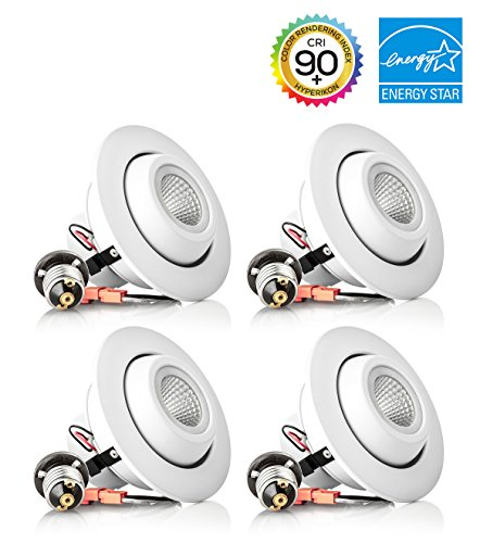 Hyperikon 4 Inch LED Gimbal Downlight, 10W (65W Replacement), 620 lumen, 2700K (Warm White), CRI 90+, E26 Base, 120v, Dimmable, Flexible light beam direction, UL & Energy Star - (Pack of 4) (Led Can Light Eyeball compare prices)