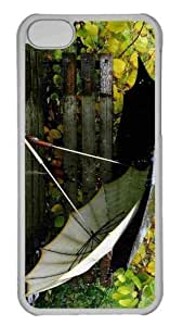 Customized iphone 5C PC Transparent Case - Umbrellas On The Bench Personalized Cover