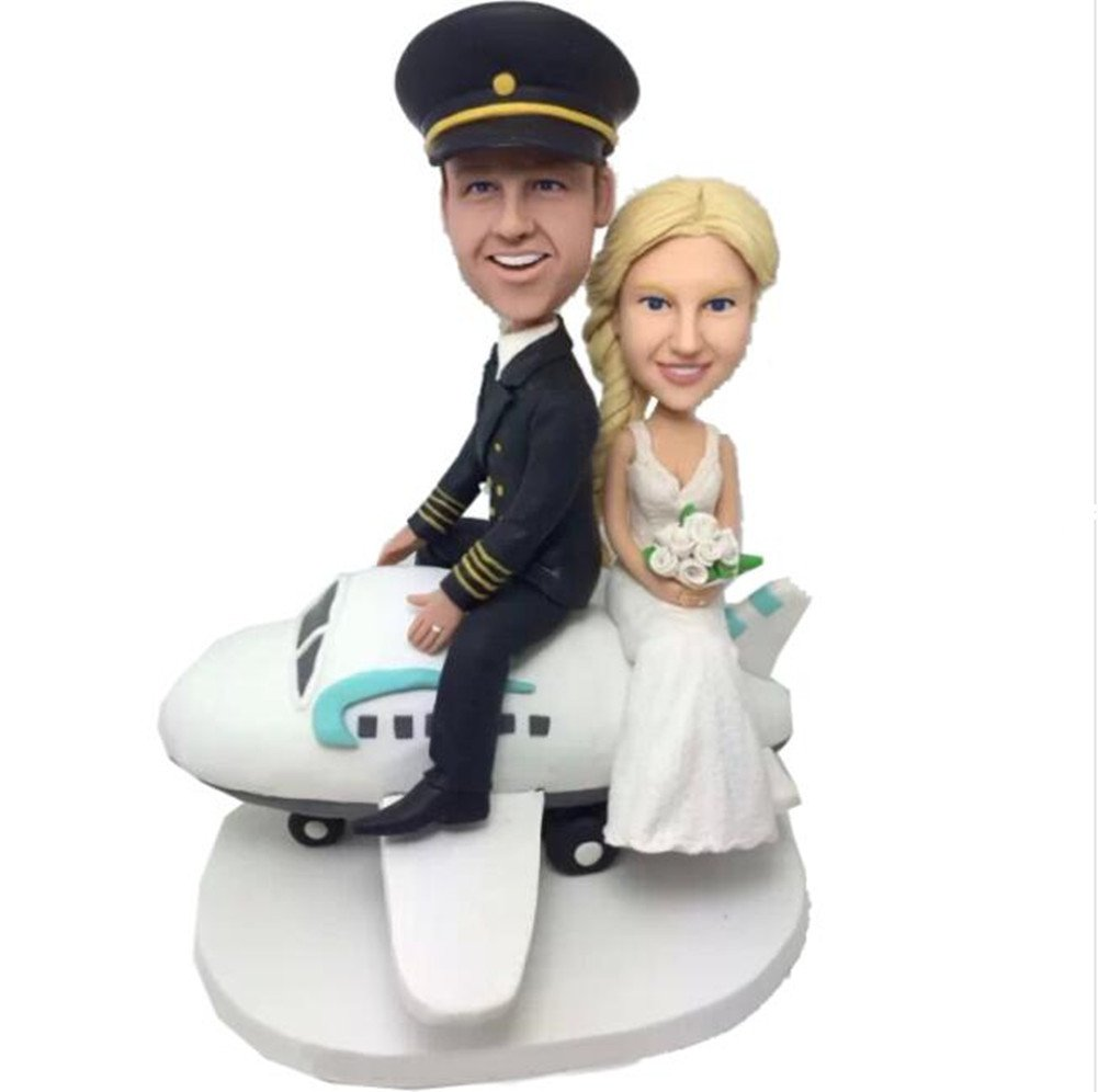 Custom Create Your Own Couple on Plane Wedding Bobble head Polymer Clay Handmade Bobbleheads Cake Toppers