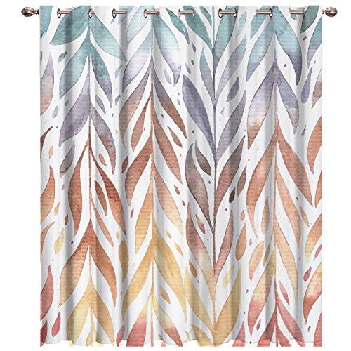 BABE MAPS Blackout Curtains with Sliver Grommet 1 Panel Hand Drawn Colorful Occupation Curtain Window Coverings Thermal Insulated Light Blocking Curtains for Living Room 52
