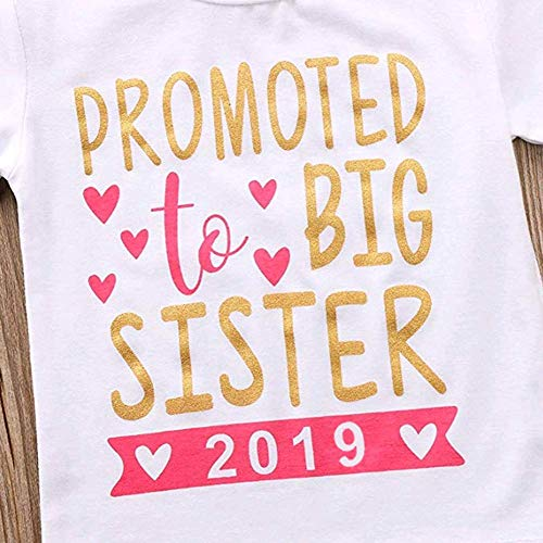 2018 Baby Girl Clothes Outfit Big Sister Letter Print T-Shirt Top Blouse Shirts (White02, 3-4 Years)