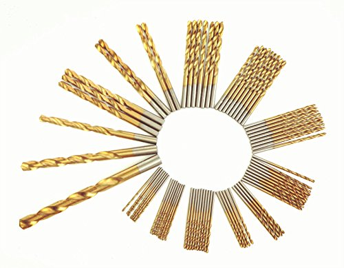 DRILLFORCE, 160 PCS,HSS Titanium Coated Twist Drill Bits Set,3/64-1/2, Metal drill, ideal for drilling on mild steel, copper, Aluminum, Zinc alloy etc.
