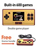 CZT 2.6 Inch Screen Classic FC Pocket Retro Video Game Console Handheld Game Console Built -in 600 Games Can take the joysticks Double player (Black)