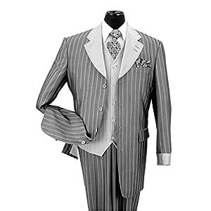 B00LYU8IG8 Milano Moda Men's 3 piece Luxurious Classic Gangster Pinstripe Wool Feel Suit 2911