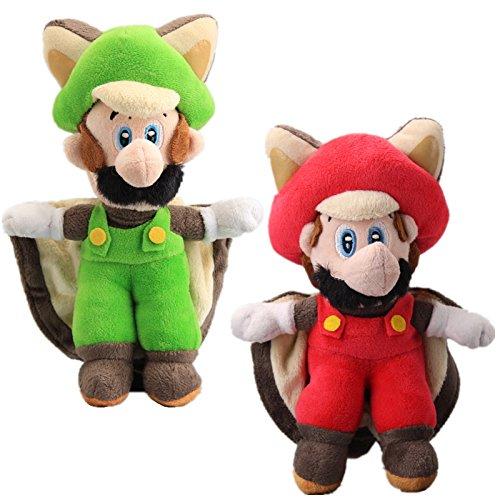 Flying Squirrel Red (UiUoU Super Mario Bros Set of 2 - Flying Squirrel Mario & Squirrel Luigi Plush Doll 9'')