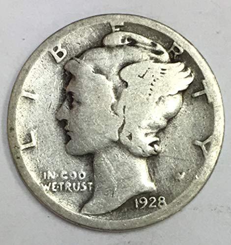 1928 S Mercury Dime 90% Silver 10c Average Circulated