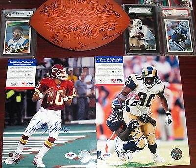 Rams Louis Team Bank - 1998-99 St. Louis Rams Team Signed Football (7) Vermeil Kennison Banks Lee - JSA Certified - Autographed Footballs