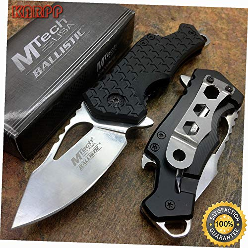 Spring Assisted Stainless Steel Blade Black Nylon Fiber Handle - Outdoor Camping perfect For Hunting EDC ()