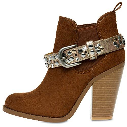 CASPAR STB013 Damen Vintage Stiefelband / Stiefelschmuck mit Strass und Nieten dunkelgold metallic