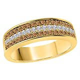 DreamJewels 6MM 14K Yellow Gold FN Alloy 0.50CT Smoky Quartz & White Cz Diamond Ring 3 Row Pave Men's Hip Hop Anniversary Wedding Band Ring Size All Available