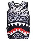 Grey Leopard Shark Backpack, Moraner 22L 3D Print Dazzling Large School Rucksack for Boys Grils