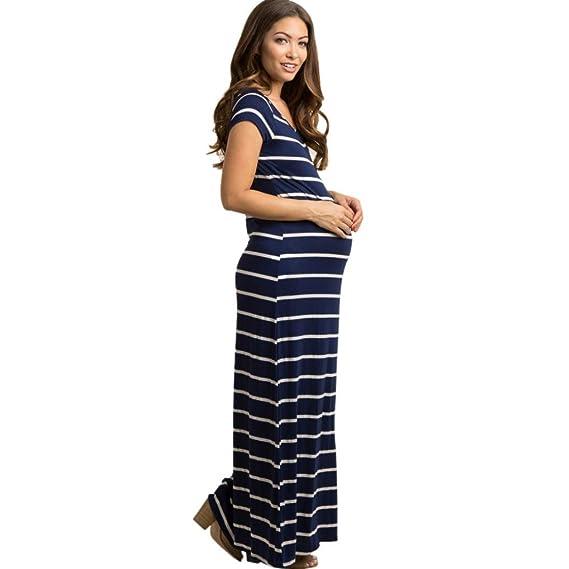 BBsmile Camisa Mujer Vestido Maxi Largo de la Maternidad del Embarazo de la Moda Maternal estriada