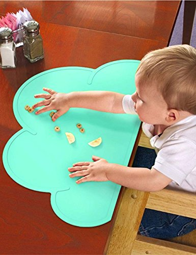 Toddler Placemat - 2 Packs Silicone Baby Reusable Travel Place mat for Kids Kitchen Dining Table Diner Portable Roll up Washable Restaurant Food Mat for Child (2 Packs) by Standard (Image #6)