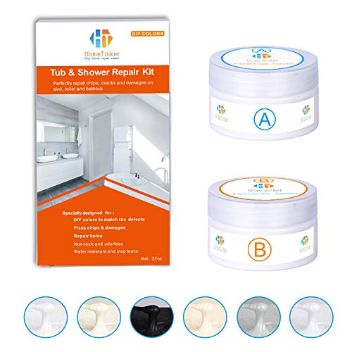Tub, Tile and Shower Repair Kit (Color Match), 3.7oz Fiberglass Repair Kit, Porcelain Repair Kit White/Almond/Black/Bone/Bisque/Biscuit/Grey/Cream/Off White/Beige, Odorless Bathtub Paint