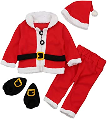 Baby Boys Girls Christmas Outfits Infant Santa Claus Costume Cosplay Coat Xmas Party Photography Props Outfit Set 4PCS