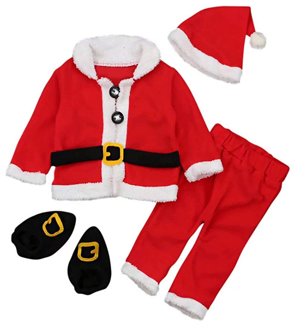 SUPEYA Toddler Baby Santa Christmas Tops+Pants+Hat+Socks Outfits Costumes 4Pcs Set
