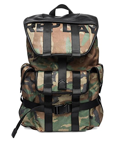 Replay Men's Men's Camouflage Backpack With Logo Green by Replay