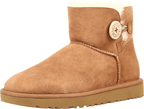 UGG Women's Mini Bailey Button II Winter Boot, Chestnut, 9 B US