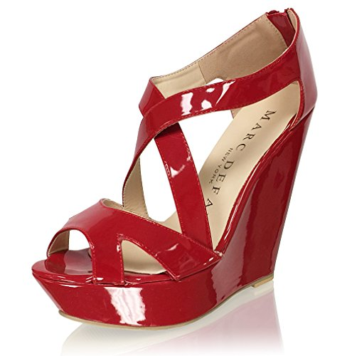 New York High Heels (Marc Defang New York Women's Patent Leather High Heel Platforms Strappy Wedges (10M US))