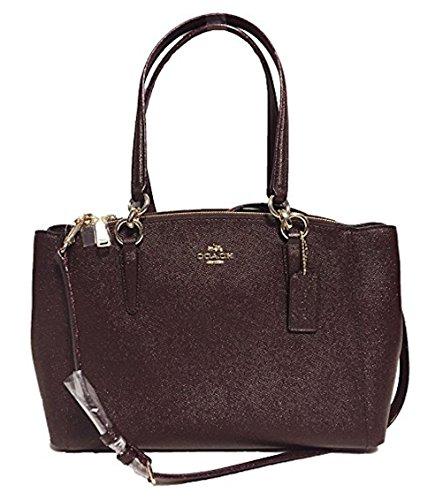 COACH Crossgrain Leather Christie Carryall Handbag (Small, IM/Oxblood 1)