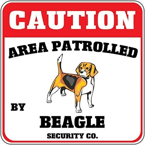 Liz66Ward Caution Area Patrolled by Beagle Dog Security Co Aluminum Corssing Sign Caution Signs Funny Metal Animal Crossing Wall Art Decor 12x12 Novelty Gifts Sign ()