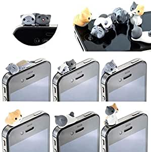 TOOPOOT(TM) 6pcs Cheese Cat 3.5mm Anti Dust Earphone Jack Plug Stopper Cap for iPhone 3G iPad HTC Samsung Nokia