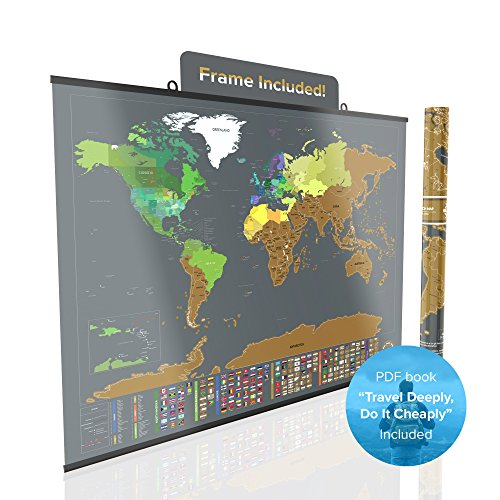 Large Scratch Off World Map Poster - Detailed Peel off Map with US States and Country Flags - Includes Frame, Scratcher, Push Pins, Flag Pins, - Us Frames