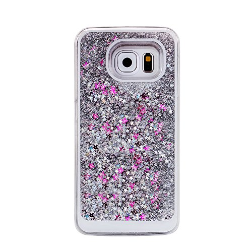 Turpro™ Creative Funny Hard Transparent Clear Plastic 3D Quicksand Liquid Design with Stars Dual Layer Shiny Glitter Sparkly Bling Case for Samsung Galaxy S6 (Silver)