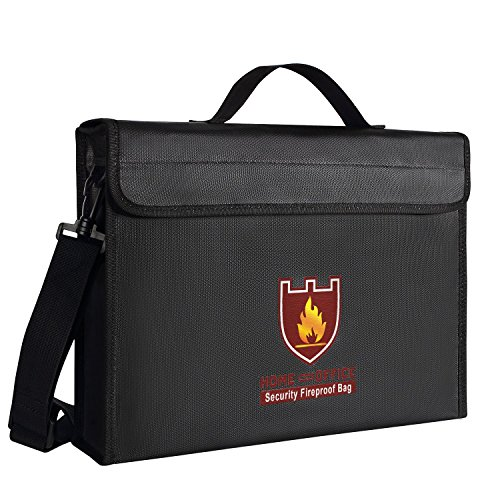 """ENGPOW Fireproof Safe Bag, Fire and Water Resistant Money and Important Documents Bag, Silicone Coated with Shoulder Strap ,Zipper,Fire Protective Envelope Pouch for Valuables (15""""x11""""x3"""")"""