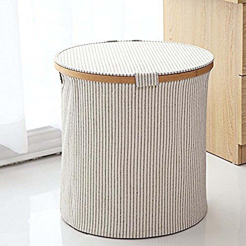 GOHIDE A Folding Laundry Basket Storage Round Barrel Large Wood Laundry Storage Basket Toy Clothes Storage Basket 38 x 38 cm XCX by GOHIDE (Image #5)