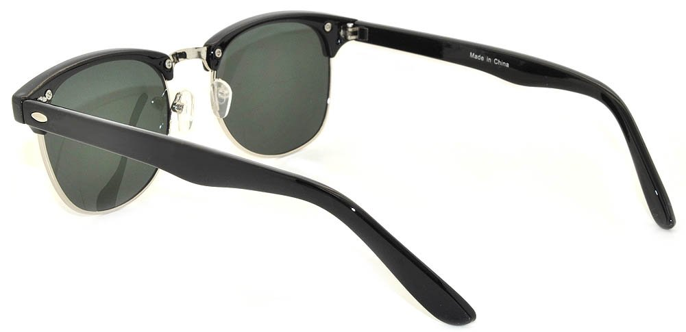 New Fashion Classic Black-Silver Half Frame Sunglasses with Green Lens by OWL (Image #3)
