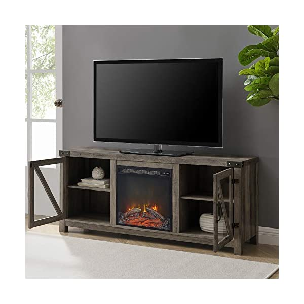 "Walker Edison Farmhouse Barn Wood and Glass Fireplace Stand for TV's up to 64"" Flat Screen Living Room Storage Cabinet Doors and Shelves Entertainment Center, 58 Inch, Grey Wash"