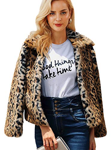 Shilanmei Womens Leopard Faux Fur Coat Vintage Warm Long Sleeve Parka Jacket Outwear (Tag M = US 4/6)