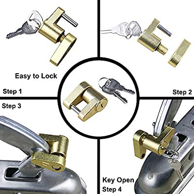 "OKLEAD Trailer Hitch Coupler Lock for Towing Power Hauling Security with 1/4"" Hitch Pin Up to 7/8"" Coupler Span Golden: Automotive"