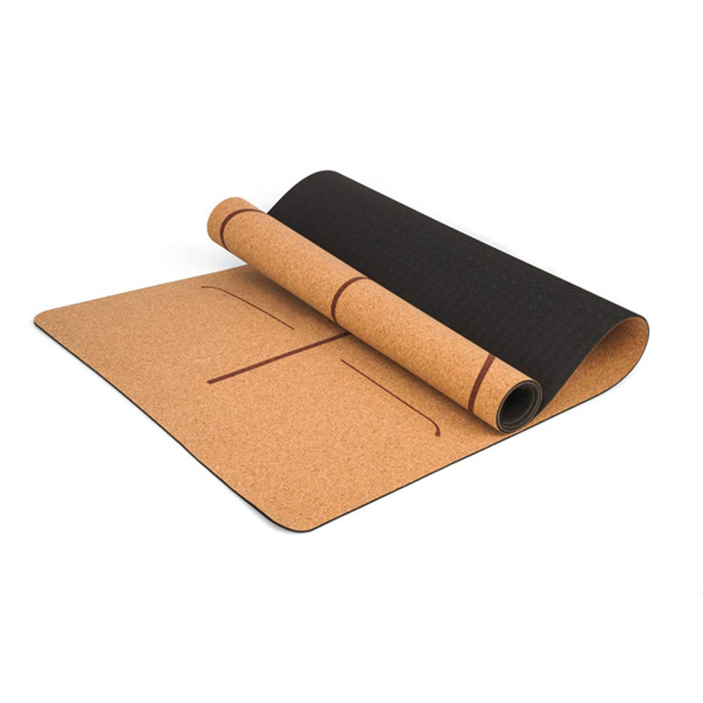 Leoattend Cork TPE Non-Slip Yoga Mat 5mm Gymnastics Pad for Women Men Fitness Training by Leoattend