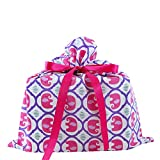 Elephants Reusable Fabric Gift Bag for Baby Shower, Child's Birthday, or Any Occasion (Medium 17 Inches Wide by 18.5 Inches High, Pink)